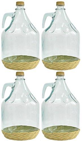 4er SET GLASBALLON GÄRBALLON FLASCHE GLASFLASCHE WEINBALLON GLAS BALLON 5L BDO5Z