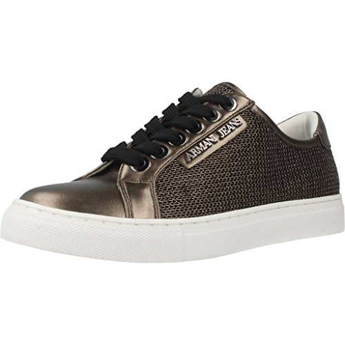 Armani Jeans Metallic Mesh Lace Up Damen Sneaker Metallisch Metallisch