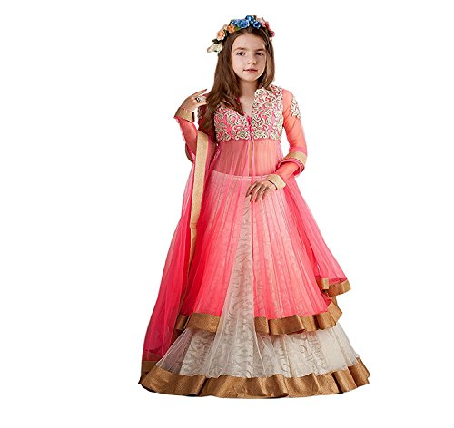S R Fashion Girls Rasal Net Embroidered Semi Stitched Pink And -White Lehenga Choli With Dupatta Set (Designer Kids Pink_Penther-001_ Pink Lehengha Choli With White Colour)  available at amazon for Rs.399