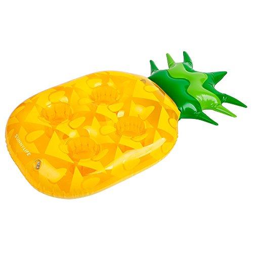 Sunny Life schwimmender Getränkehalter - Ananas - aufblasbar - 67x35x10cm - Gelb/Grün