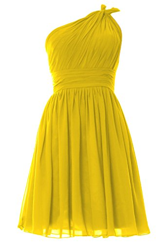 MACloth Women One Shoulder Pleated Short Bridesmaid Dress Wedding Party Gown Gelb