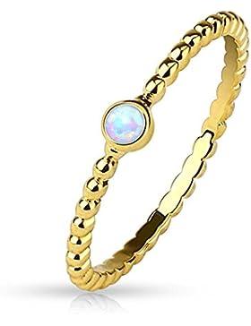 Paula & Fritz® Ring aus Edelstahl Chirurgenstahl 316L 14 Karat vergoldet Perlenmuster mit eingefasstem Opal verfügbare...