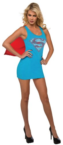 Supergirl Kleid mit Cape Damen Gr. 38-40, Größe:M (Superwoman Cape)