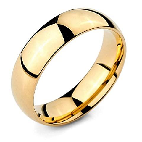 Epinki,Men Women's Wide 6mm Stainless Steel Rings Band Gold Classic Wedding Polished Size P 1/2