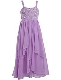 Fashion Plaza Mädchens A-line Chiffon Brautjungfer Blumenmädchen Kleid K0116