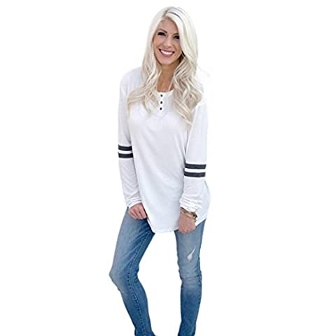Tonsee® Femmes manches longues col rond Splice shirt Blouse Tops T-shirt (S, Blanc)