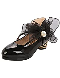 LSERVER-Zapatos de Princesas para Niñas Sandalias con Lazo y Perla Zapatos de Charol de