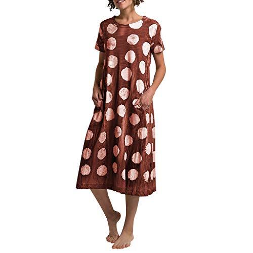 Damen kleid,Jessboy Frauen arbeiten beiläufiges Punkt-Drucken-rundes Kragen-Kurzschluss-Hülsen-lose Kleid mit Taschen um