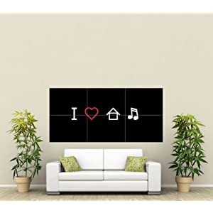 I LOVE HOUSE MUSIC GRAPHIC ILLUSTRATION PICTOGRAM BLACK WHITE RED DJ COOL HUGE WALL ART POSTER PLAKAT DRUCK ST321