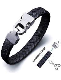 Amtier Lederarmband für Männer Echtlederarmband Herren Einstellbarem Geflochtenes Armband Leder mit Push-Pull-Verschluss in Schwarz & Braun