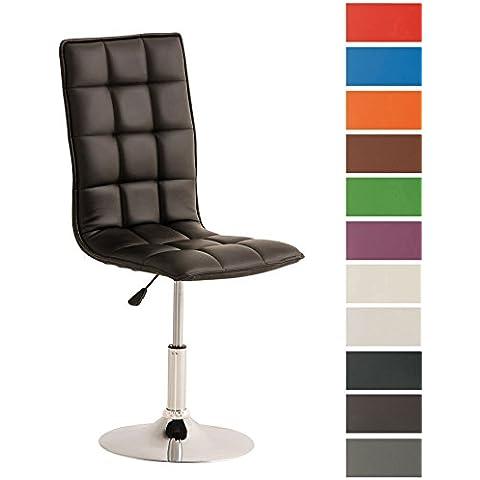 CLP Silla del comedor ajustable en altura PEKING, soporte en un aspecto cromado, asiento giratorio de 360°, cuero sintético, 12 colores para eligir negro