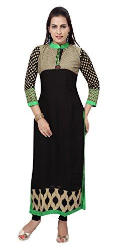 Carrel Georgette Fabric Women Long kurti(2060-KT-GREEN-XXL)
