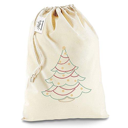 Twisted Envy Verde strass albero di Natale Babbo Natale calza di Natale sacchetto regalo, Cotone, X-Large - Approx 50cm x 70cm
