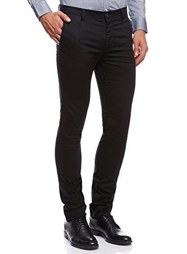 oodji Ultra Uomo Pantaloni in Cotone con Tasche Dietro a Patta, Nero, IT 48 / EU 44 / L