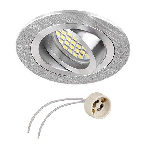 GU10 Support pour spot encastrable, orientable en aluminium brillant/satiné, 50 mm