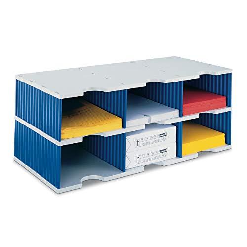 Ultimate Office TierDrop Dokumentations-Organizer/Formulare Sortierer, 6 Fächer, hohe Wände mit optionalen Zusatz-Ebenen für einfache Erweiterung, Grau mit Blau