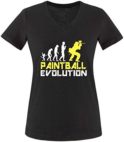 EZYshirt® Paintball Evolution Damen V-Neck T-Shirt Schwarz/Weiss/Gelb