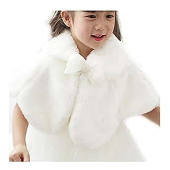 Freebily Girls Kids Faux Fur Bolero Cardigan Shrug Winter Princess Cape Jacket Wedding Party Dress Accessories White 2-3 Years