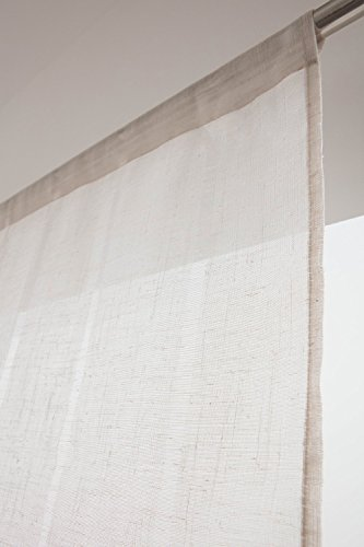 RideauDiscount Voilage Vitrage 90 x 190 cm Passe Tringle Tissu Léger Effet Gaze de Lin à Rayures Verticales Style Naturel Ecru
