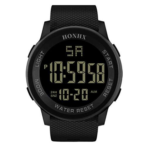 Sportuhr für Herren mit PU-Kunststoffband, HONHX Digitale Quarz Armbanduhr, Outdoor Mode Sport LED Armbanduhr mit Countdown Stoppuhr Kalender Alarm für Männer(Schwarz-2) ()