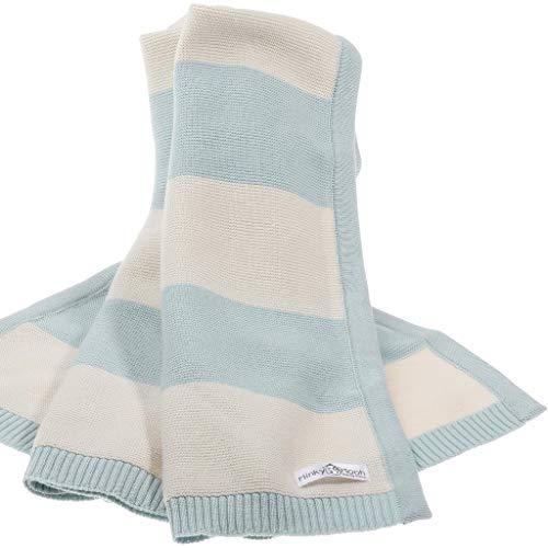 Babydecke aus 100% Bio Baumwolle - kuschelige Strickdecke ideal als Baby Decke, Erstlingsdecke, Bettdecke oder Baby Kuscheldecke in blau und rosa