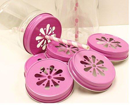 Pink Daisy Cut Out Mason Jar Lids - Fits Regular Mouth [set of 36] by FC (Mason Jar Lids-daisy)