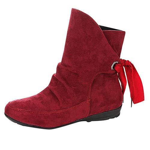 Schneestiefel,Damen Oliviavan Mittlere Stiefel Schwarz Outdoor Schuhe Einfarbig Wildleder Fersenriemen Stiefeletten Stiefel