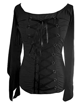 Black - Batwing Top Gothic Vintage Victorian Fancy Dress LARP Corset Size 8-10