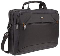 Idea Regalo - AmazonBasics - Borsa a tracolla per laptop, computer e tablet da 15.6'' (40 cm), nero, confezione da 1