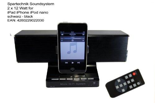 Spartechnik Soundsystem Lautsprecher mit Dockingstation für Apple iPhone/iPad/iPod, Schwarz