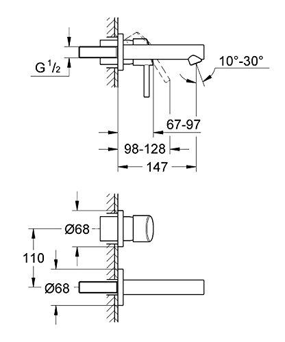 Grohe Concetto Badarmatur (2-Loch-Waschischarmatur, Ausladung 147 mm) 19575001