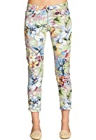 CASPAR Damen 7/8 Sommer Hose mit Blumen Muster / Lilien / Flower Print - KHS021