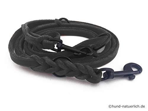Fettleder Führleine 3-Fach verstellbare Lederleine geflochten für Hunde 96 Modelle zur Auswahl (2,40m x 10mm, schwarz, schwarz Matte Haken)