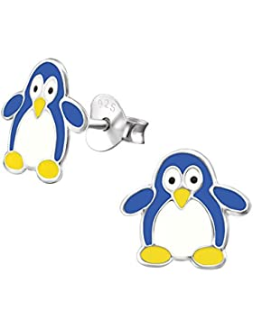 Laimons Kids Kinder-Ohrstecker Kinderschmuck Pinguin Blau, Gelb, Weiß Sterling Silber 925