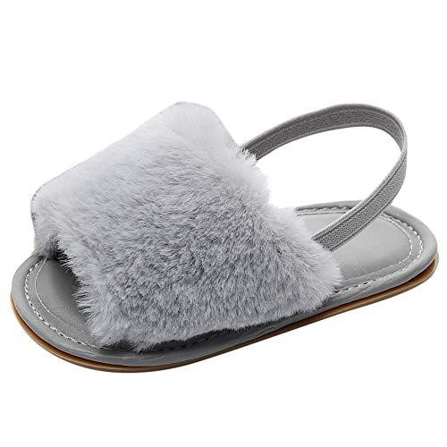 YU'TING ‿ Neonate Faux Fur Slide Sandali Fluffy Slippers con Cinturino Posteriore Soft Sole Aantiscivolo Scarpe da Bambino Prewalk