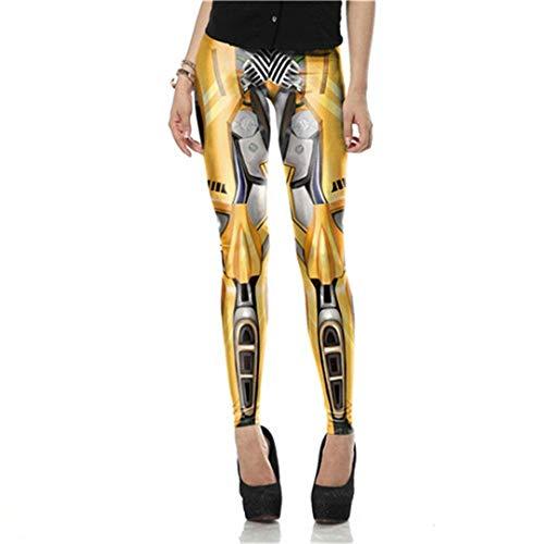 Martinad Moda para Mujer Steampunk Cintura Alta Impresión 3D Cosplay Mecánica Leggings Vida de la Moda Pantalones De Cintura Alta Pantalones De Lápiz (Color : Kdk1571, Size : 3XL)