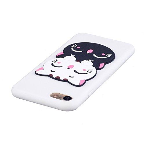 EUWLY Silicone Custodia per iPhone 7/iPhone 8 (4.7), 3D Creativo Cute Cartoon Animale Solid Modello TPU Cover Case per iPhone 7/iPhone 8 (4.7) Ultra Sottile Morbido Silicone TPU Cover Copertura Dive Gatto