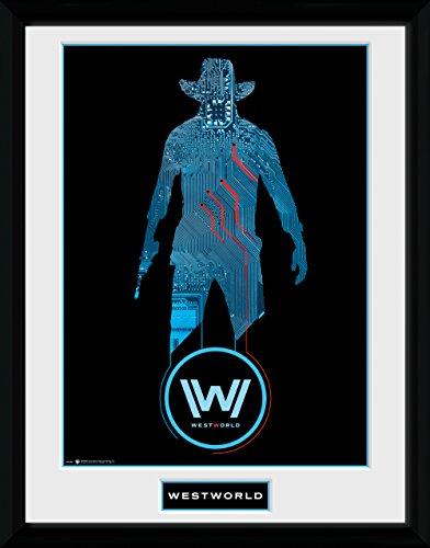 GB eye Ltd Westworld, Silhouette Kunstdruck, gerahmt, 30x 40cm, Holz, Verschiedene, 52x 44x 3cm