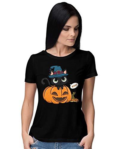 Cute Black Halloween Cat In A Pumpkin with A Witch Hat Damen T-Shirt S (Halloween Disney-film Town)
