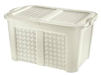 XXL Gartentruhe / Haushaltsbox in Geflecht-Optik aus Kunststoff für 123 Liter, sehr hochwertig verarbeitet (angora) von Tontarelli