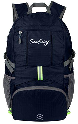 Imagen de ecocity ultra ligero 30l ripstop impermeable doblable excursionismo daypacks backpack  para viaje camping,excursion,trekking,montaña y escalada con sistema de hidratacion, azul marino