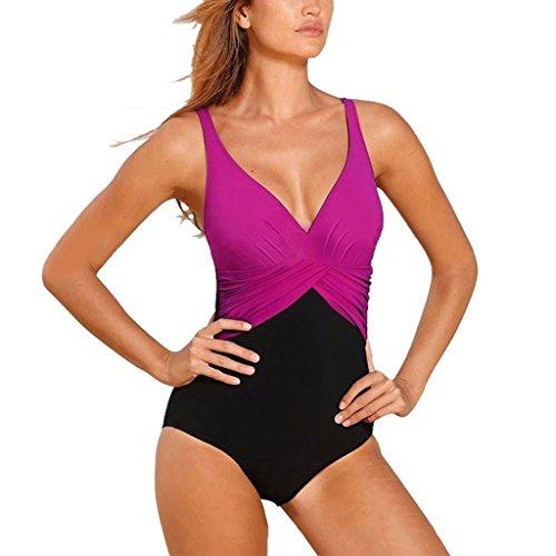 GWELL Frauen Vintage Elegant Plus Size Einteiler Push up V-schnitt Badeanzug Schwimmanzug Mehrfärbig Bademode lila 2XL (Größentabelle Vintage)