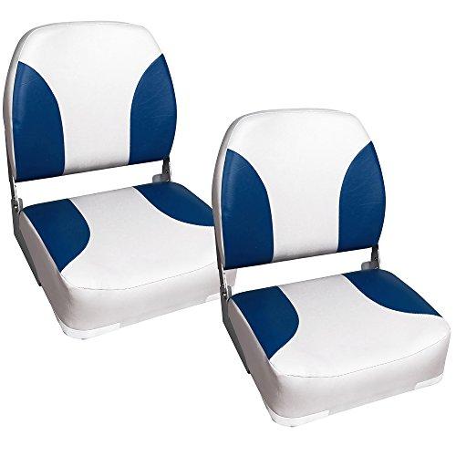 [pro.tec] 2x Bootssitz / Kapitänsstuhl aus wasserfestem Kunstleder / gepolstert / UV- beständig / klappbar (blau-weiß)