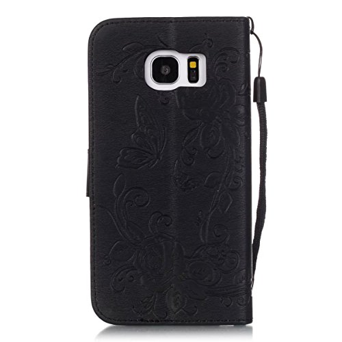 Wkae Case Cover Premium-PU-Leder-Kasten-Abdeckung mit Resine Strass und hängenden Seil Folio Standplatz-Fall Embossing Schmetterlings-Blumen-Mappen-Kasten für Samsung S7 Rand ( Color : Pink , Size : S Black