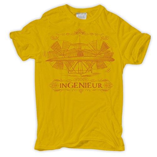 Männer und Herren T-Shirt Ingenieur Gelb