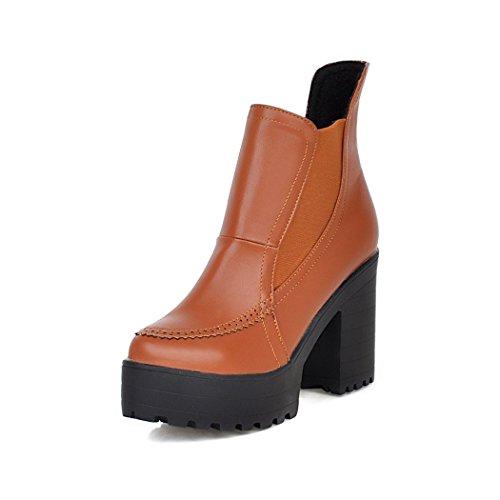 ZQ@QX L'automne et l'hiver imperméable Taiwan à tête ronde avec épais européen et américain contemporain jeu de pied nu chaussures chaussures à talons hauts, des bottes