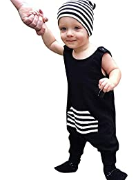 Koly 0-24 meses niños de bebé niños sin mangas rayas mameluco Enterizo trajes