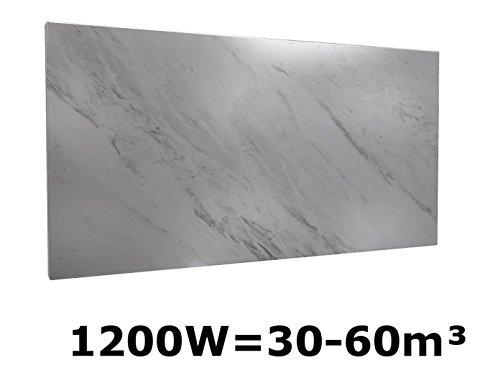 1200 W CALEFACCION POR INFRARROJOS DE MARMOL DE COLOUR BLANCO  130 X 60 CM  PARA HABITACIONES DE 30-60M³  IP44  HVH1200MR