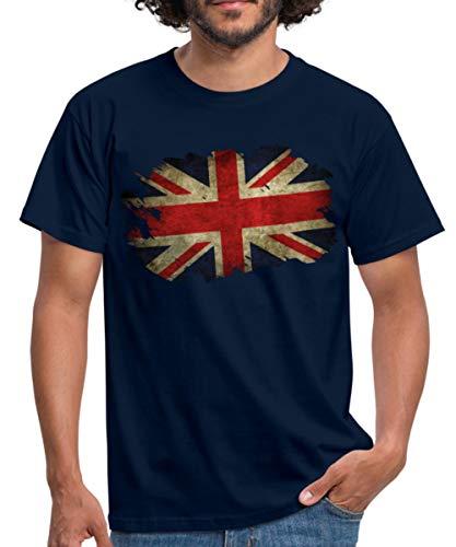 Spreadshirt Großbritannien Union Jack Flagge Männer T-Shirt, XXL, Navy -