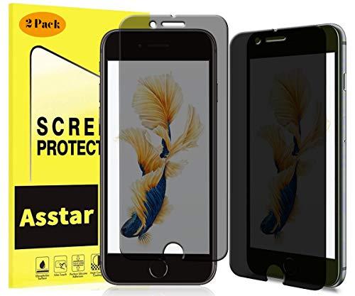 Asstar Sichtschutz für iPhone 8/7, Anti-Spioning, blendfrei, 9H gehärtetes Glas, Kratzfest, Anti-Fingerabdruck, blasenfrei, volle Abdeckung, für die Hülle geeignet, 2er-Set